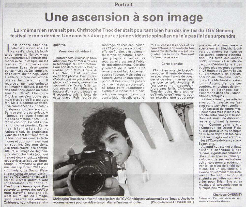 Portrait dans le quotidien Vosges Matin